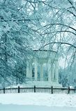 Winter nature, pavilion in alley in park Royalty Free Stock Photography