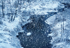 Winter nature, river in snow royalty free stock photo