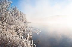 Winter, nebelhafter Fluss Stockfotos