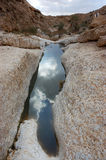 Winter in Negev desert. Sky reflection in pool after winter rain in Negev desert, Israel Stock Images