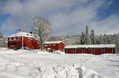 Winter neighborhood. Old houses in a snowy neighborhood in Norway Stock Image