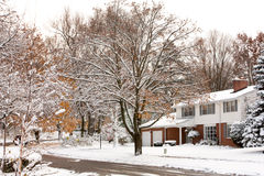 Winter Neighborhood street scene Royalty Free Stock Photos