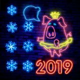 Winter neon. snowflakes with glow. 2019 Happy New Year Neon lights design, Merry Christmas and Xmas background, retro card, vector. 2019 Happy New Year Neon stock photo