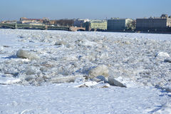 Winter Neva River in St. Peterburg Stock Image