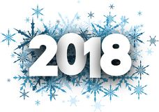 Winter 2018 New Year background. Winter 2018 New Year background with blue snowflakes. Vector paper illustration Stock Photos