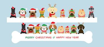 Dogs Wearing Christmas Costume Holding Banner stock illustration