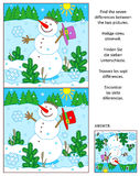Winter, New Year or Christmas find the differences picture puzzle with snowman. Winter, New Year or Christmas visual puzzle: Find the seven differences between Stock Images