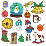 Winter,New year, Christmas outline icons set. Decorative elements for winter holidays for design. Royalty Free Stock Photography