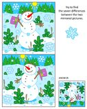 Cheerful snowman find the differences between the mirrored pictures puzzle. Winter, New Year or Christmas themed visual puzzle: Find the seven differences Royalty Free Stock Images