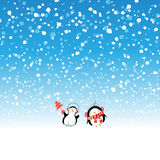 Winter New Year snow background. Winter beautiful New Year snow background with penguins Stock Photos