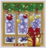 Winter New Year snow window, vector. Illustration Stock Images