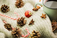 Winter and New Year theme. Christmas hot steaming cup of glint wine with spices, anise, fir cones, cookies in a shape of star, red. Candies, fir cones, pepper royalty free stock photos