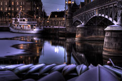 Winter night. Winter night at the canal royalty free stock photo