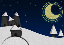 Winter night. Illustration about a winter landscape with snowed hills, trees and a little old village under the moonligh on a winter cold night Royalty Free Stock Photo