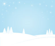 Winter night. Trees on snowy hills against a light blue night sky with bright stars Royalty Free Stock Photos