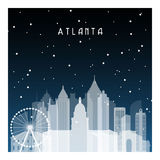 Winter night in Atlanta. Royalty Free Stock Photos