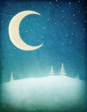 Winter night background. Pastel winter night background with  moon and  snowy landscape. Computer graphics Royalty Free Stock Image