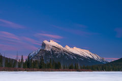 Winter at night, Banff National Park Royalty Free Stock Photography