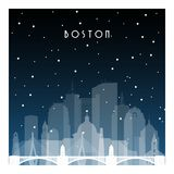Winter night in Boston. Night city in flat style for banner, poster, illustration, game, background stock illustration
