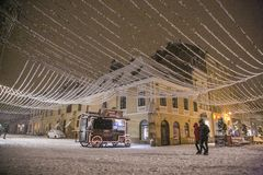 Winter Night in Brasov stock photography