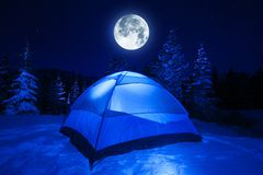 Winter Night Camp Stock Photo