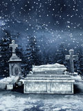 Winter night at a cemetery Stock Images
