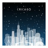 Winter night in Chicago. Night city in flat style for banner, poster, illustration, game, background Stock Photography