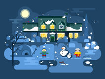 Winter night children play. Christmas holiday, snow and play, boy girl and xmas. Flat vector illustration Royalty Free Stock Photography