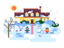 Winter night children play. Christmas holiday, snow and play, boy girl and xmas. Flat vector illustration Stock Photography