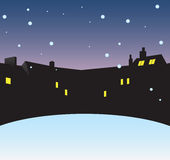 Winter night. In the city. Vector illustration without trace Royalty Free Stock Images