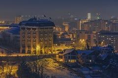Winter night cityscape, Brasov, Romania Royalty Free Stock Photo