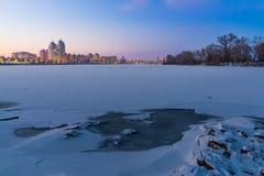 Winter Night Cityscape close to the Dnieper River in Kiev Stock Photo