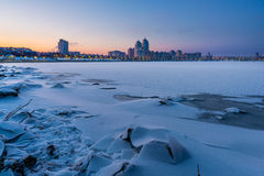 Winter Night Cityscape close to the Dnieper River in Kiev Stock Photos