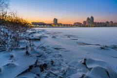 Winter Night Cityscape close to the Dnieper River in Kiev Royalty Free Stock Images
