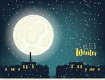 Winter night cityscape with full moon and houses. Winter night landscape with the inscription Hello winter. Silhouettes of houses the residential district of the Royalty Free Stock Photography