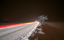 Winter Night Driving Stock Photos