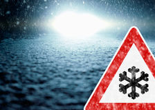 Winter Night Driving - Winter Road - Caution Snow Royalty Free Stock Photos