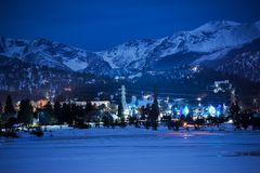 Winter Night in Estes Park Royalty Free Stock Images