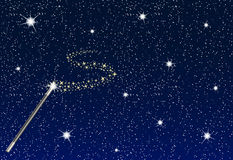 Winter night with falling snowflakes, magic wand and stream of stars Stock Photos