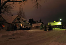Winter Night at the Farm Stock Photos