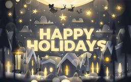 Happy Holidays greeting card in cartoon style. royalty free illustration