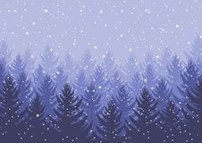 Winter night forest. falling snow in the air. christmas theme. new year weather. background stock photography
