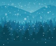 Winter night forest. falling snow in the air. christmas theme. new year weather. background royalty free stock image