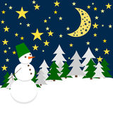 Winter Night. Forest Landscape with Snowman. Royalty Free Stock Photo