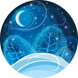 Winter night in the forest. Vector illustration. royalty free stock images