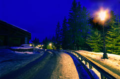 Winter night, France Stock Photography
