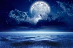 Winter night, full moon stock photography