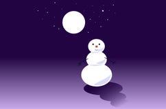 Winter night with fulll moon Stock Photo