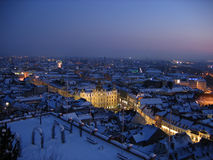 Winter night in Graz. Graz winter panorama by night Stock Images