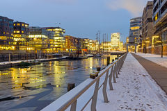 Winter night in the Hafencity Stock Photos
